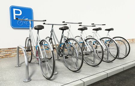 White bicycles in bicycle parking area. 3D illustration. Stok Fotoğraf