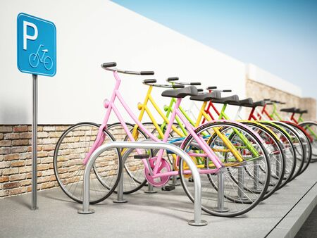Colorful bicycles in bicycle parking area. 3D illustration.