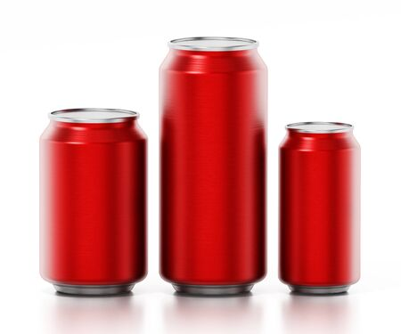 Red aluminum soda canisters isolated on white background. 3D illustration. Zdjęcie Seryjne