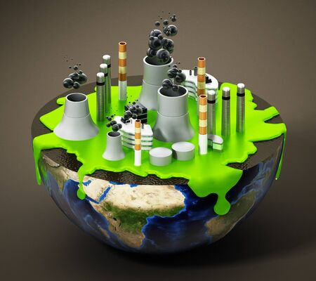 Nuclear plant with smoking chimneys and green waste on half earth. 3D illustration.