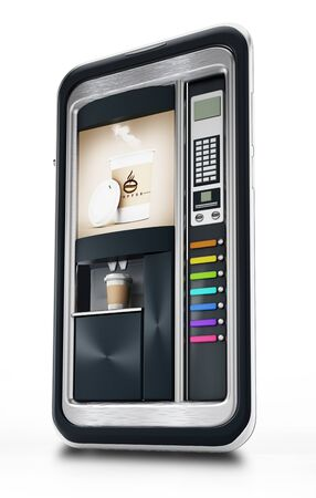 Automatic coffee machine inside smartphome screen. 3D illustration.
