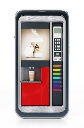 Automatic coffee machine inside smartphome screen. 3D illustration.