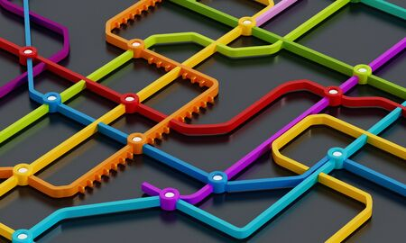 Subway map consisting of colorful crossing lines. 3D illustration.