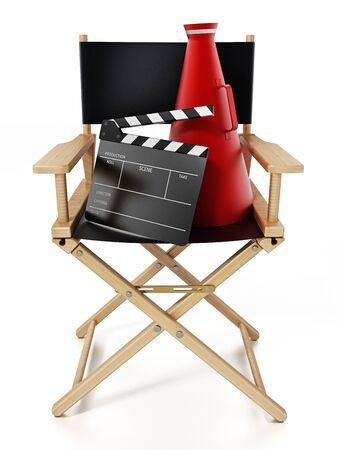 Clapboard and director's megaphone standing on director's chair. 3D illustration.