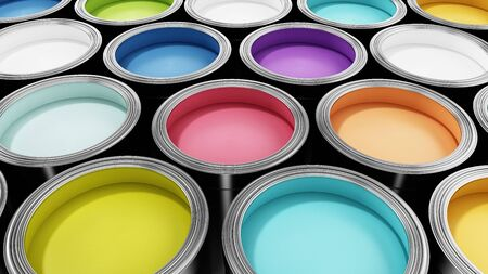 Group of metal paint cans with vibrant colors. 3D illustration.