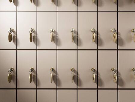 Safe deposit boxes with keys. 3D illustration.