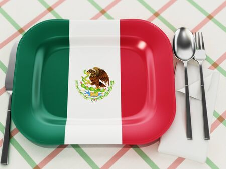 Mexican cuisine concept with Mexican flag textured serving plate. 3D illustration.