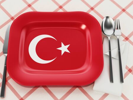 Turkish cuisine concept with Turkish flag textured serving plate. 3D illustration.