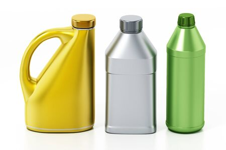 Bottles of car fluids isolated on white background. 3D illustration.