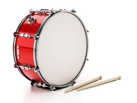 Snare-Drum-Set isoliert auf weißem Hintergrund. 3D-Darstellung.
