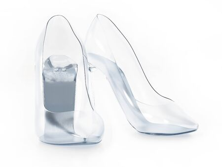 Glass shoes isolated on white background. 3D illustration.