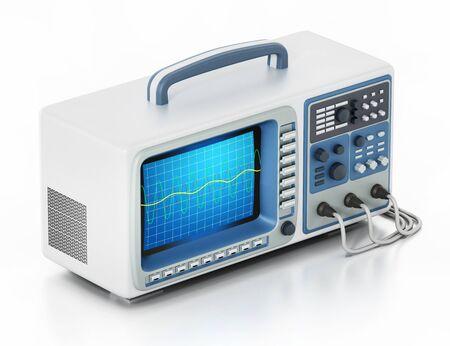 Oscilloscope isolated on white background. 3D illustration.