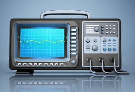 Oscilloscope standing on blue background. 3D illustration. Imagens