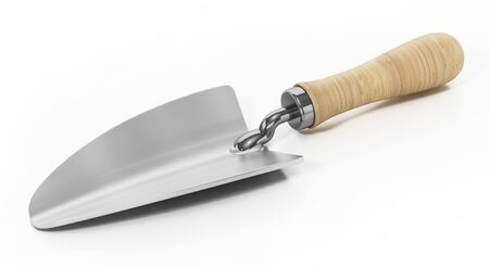 Construction trowel isolated on white background. 3D illustration.