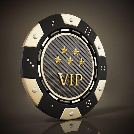 Casino chip on reflective dark background. 3D illustration.