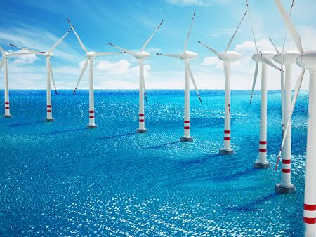 Wind turbine isolated on white background. 3D illustration.