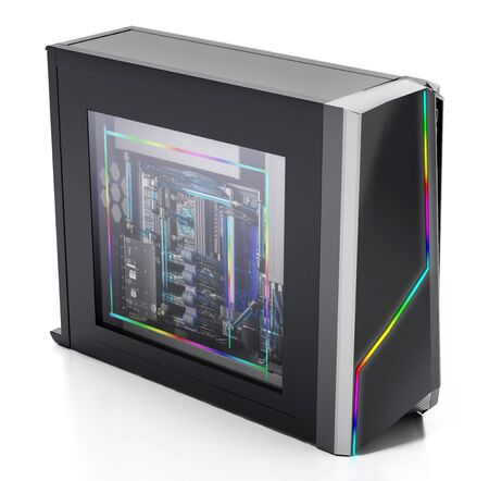 Modern PC case with RGB LED lights. 3D illustration.