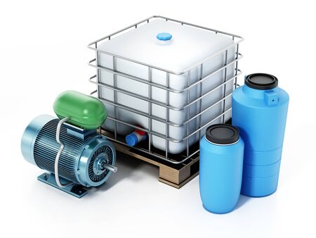 Reserve water containers and motor isolated on white background. 3D illustration. Reklamní fotografie