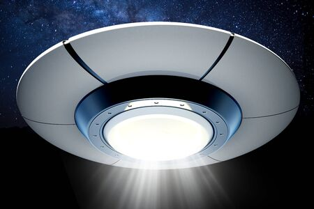 UFO with light beam against the night. 3D illustration.