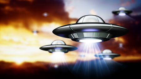 Flying saucers with light beams in the sky. 3D illustration.
