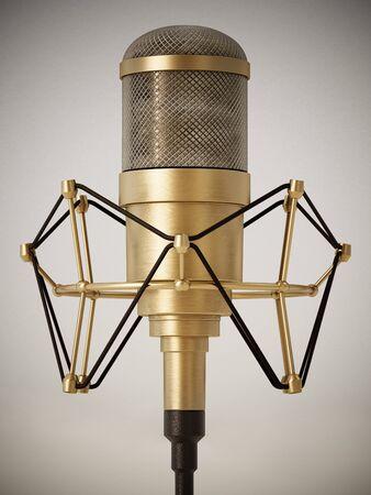 Vintage brass microphone on retro background. 3D illustration.