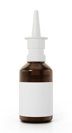 Nasal spray bottle isolated on white background. 3D illustration. Banque d'images - 143285271