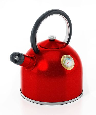 Red electric water boiler isolated on white background. 3D illustration.
