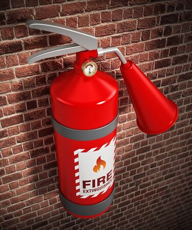Fire extinguisher on the wall. 3D illustration.