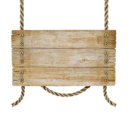 Old wooden plank tied with rope isolated on white background. 3D illustration.