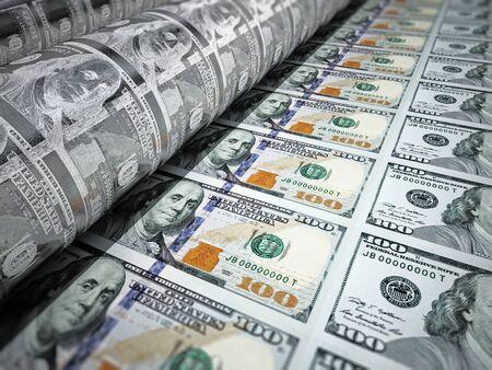 Máquina de impresión de dinero que imprime billetes de 100 dólares. Ilustración 3D. Foto de archivo