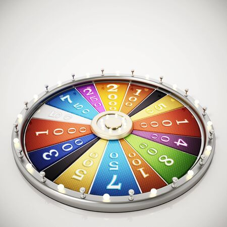 Prize wheel isolated on white background. 3D illustration.