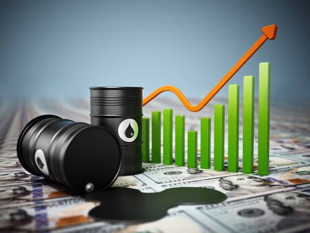 Oil barrels on dollar background. Rising oil prices concept. 3D illustration.