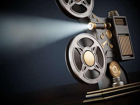 Vintage movie projector with volumetric light beam. 3D illustration.