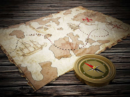 Treasure map and vintage compass standing on old wood table. 3D illustration.
