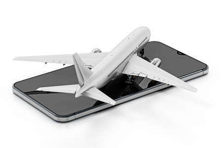 Airplane standing on smartphone screen. 3D illustration.
