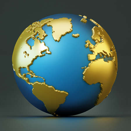 Blue and gold colored globe isolated on black. 3D illustration.