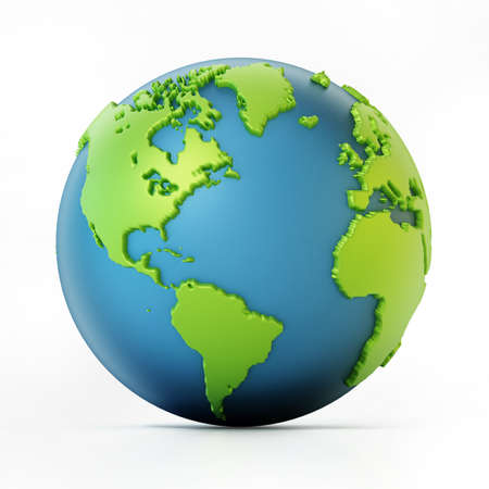 Blue and green colored globe isolated on white. 3D illustration. Stockfoto