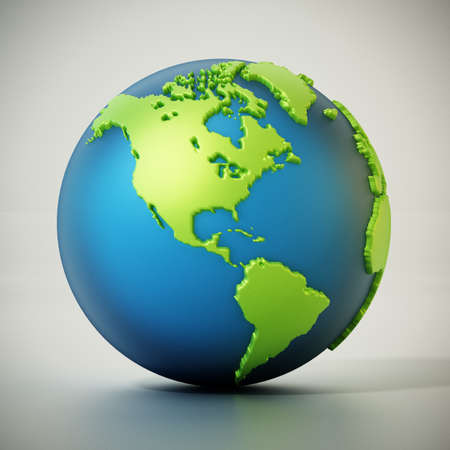 Blue and green colored globe isolated on gray. 3D illustration. Stockfoto