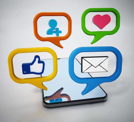 Social media symbols inside speech balloons on smartphone. 3D illustration.