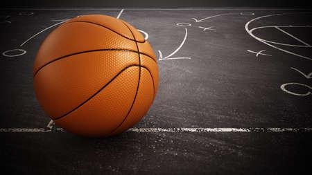 Basketball standing on game strategy blackboard. 3D illustration.
