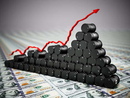 Crude oil drums standing on dollar bills. Rising oil prices concept. 3D illustration.