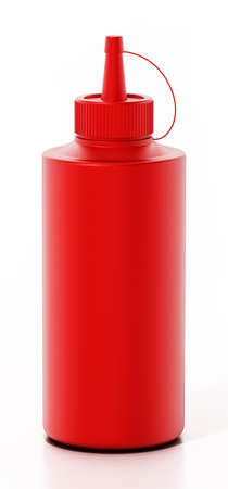 Ketchup bottle isolated on white background. 3D illustration.