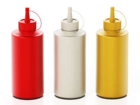 Ketchup, mayonnaise and mustard bottles isolated on white background. 3D illustration.
