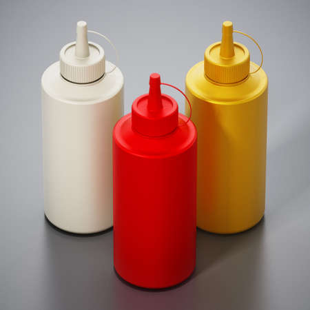 Ketchup, mayonnaise and mustard bottles isolated on gray background. 3D illustration. Stockfoto