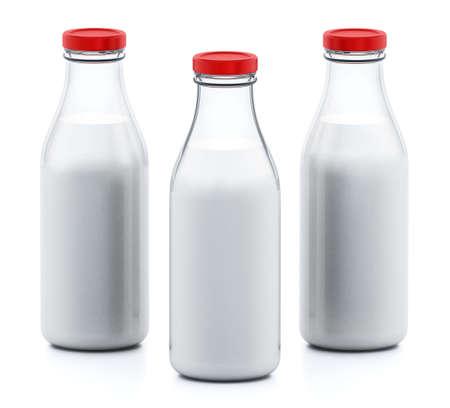 Milk bottles isolated on white background. 3D illustration.
