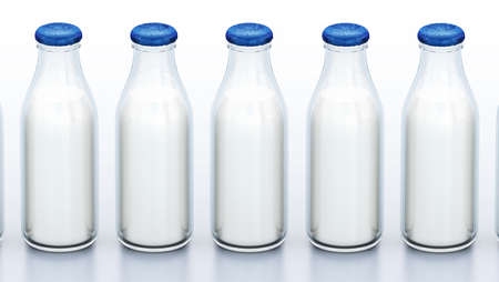 Milk bottles in a row isolated on white background. 3D illustration.