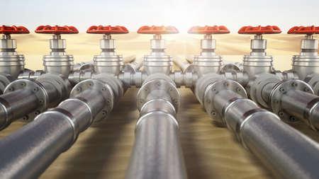 Valves and pipes across the desert. 3D illustration.