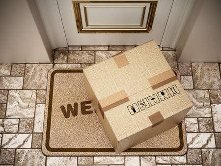 Cargo box standing on doormat. 3D illustration.