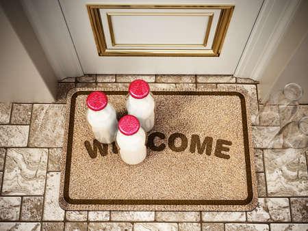 Milk bottles standing on doormat. 3D illustration.