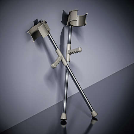 Pair of crutches standing next to the wall. 3D illustration.